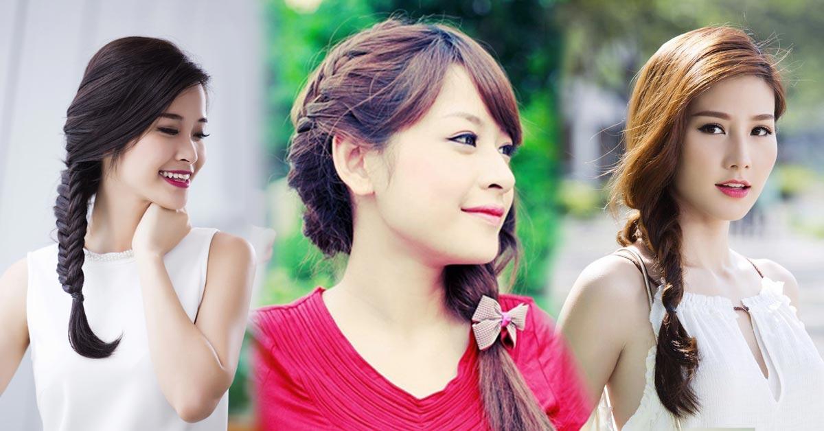 Tết tóc lệch 1 bên là kiểu tóc dự tiệc đơn giản dễ làm cho các bạn nữ ngay tại nhà